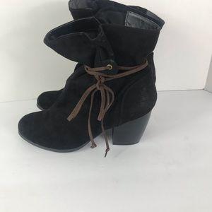 Qupid Black Booties With Brown String Tie 8.5